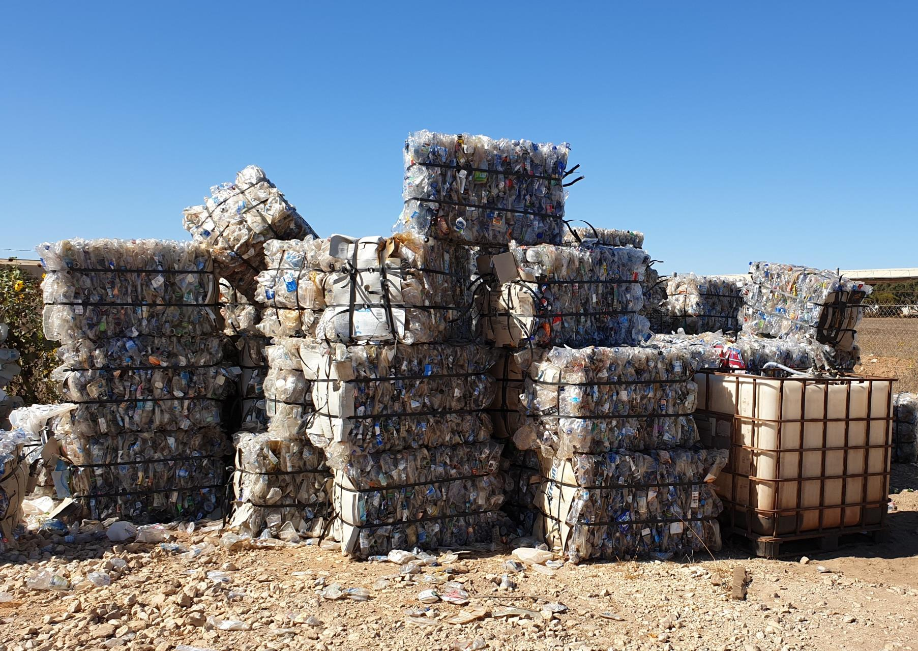 Bales of plastic bottles ready for recycling
