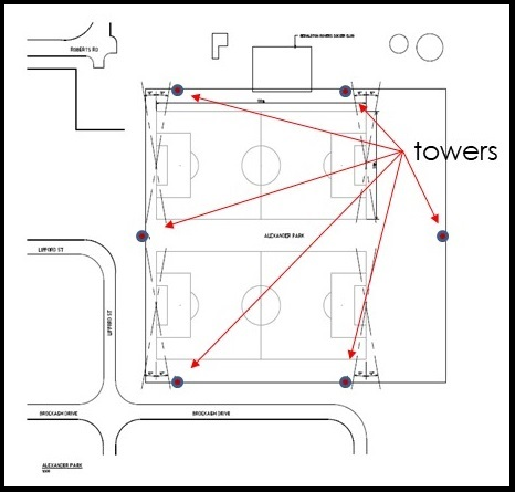 Map of Alexander Park tower loctions