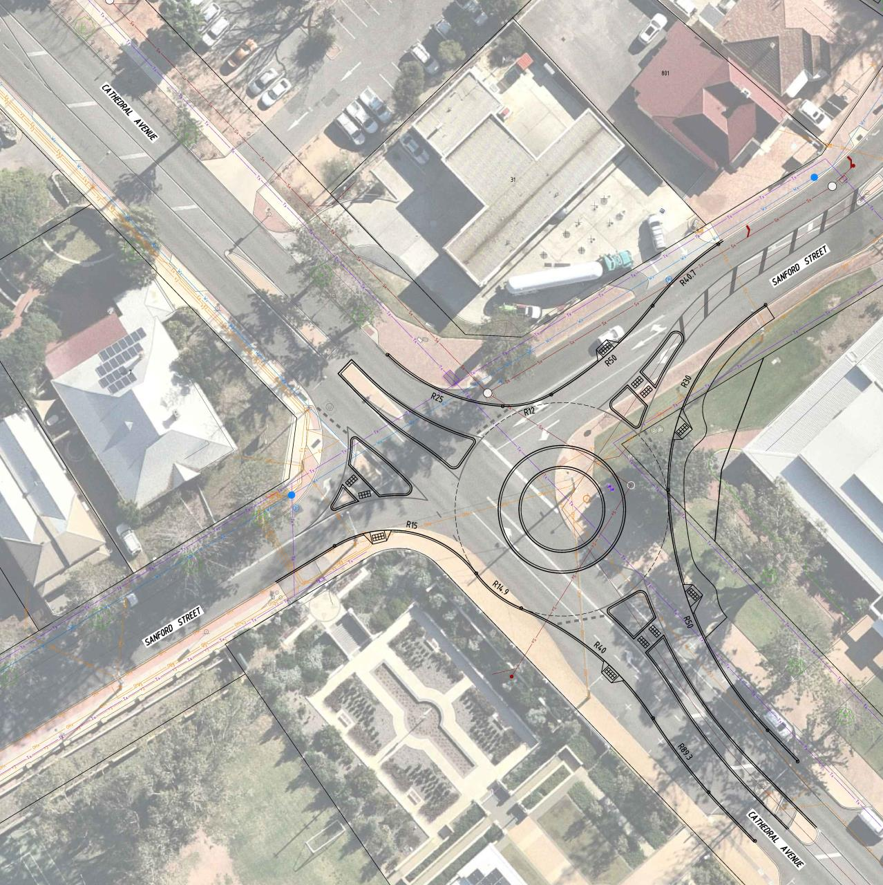 Cathedral Avenue Sanford Street roundabout design