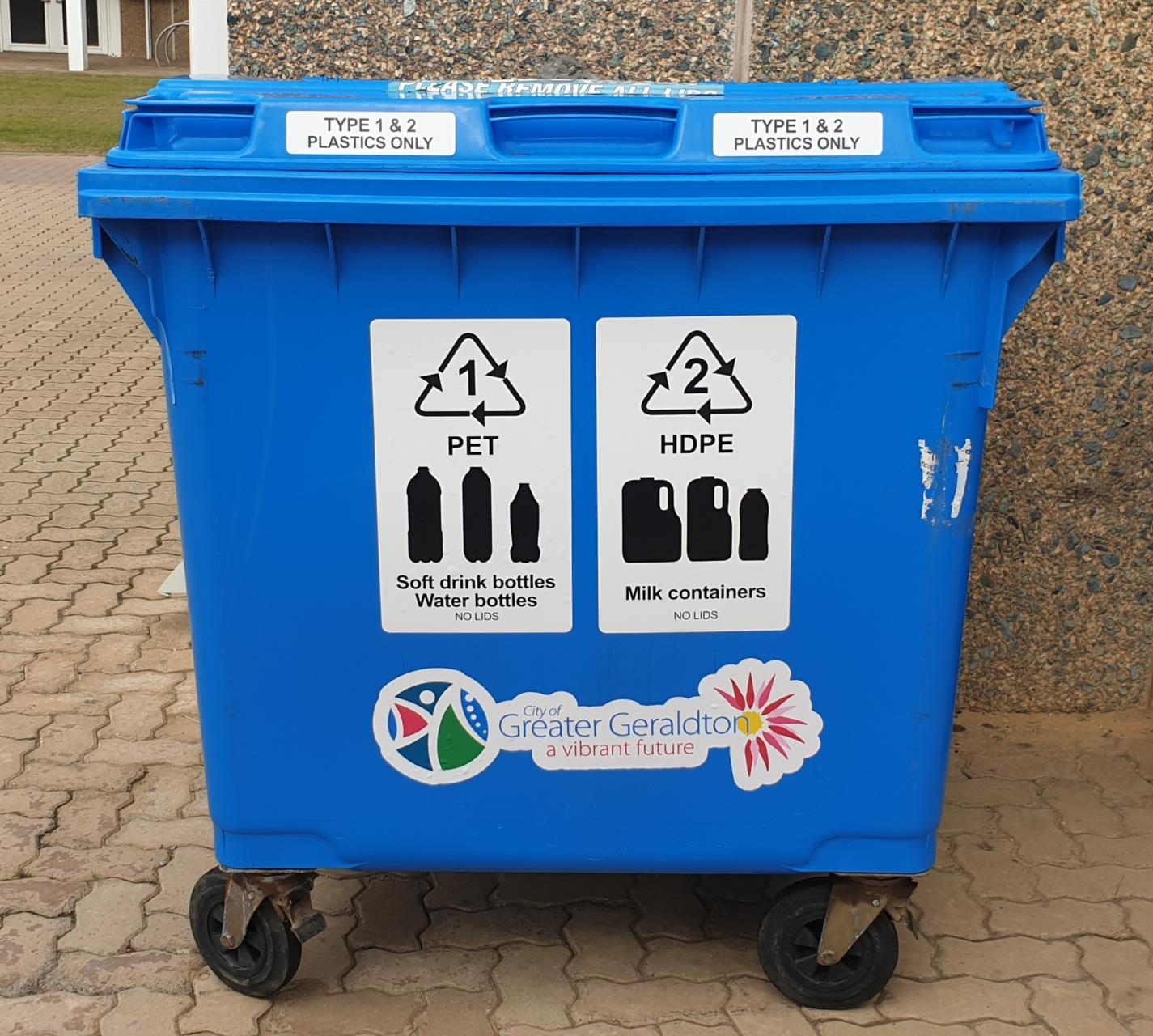 New stickers display what can be recycled in the blue bins.