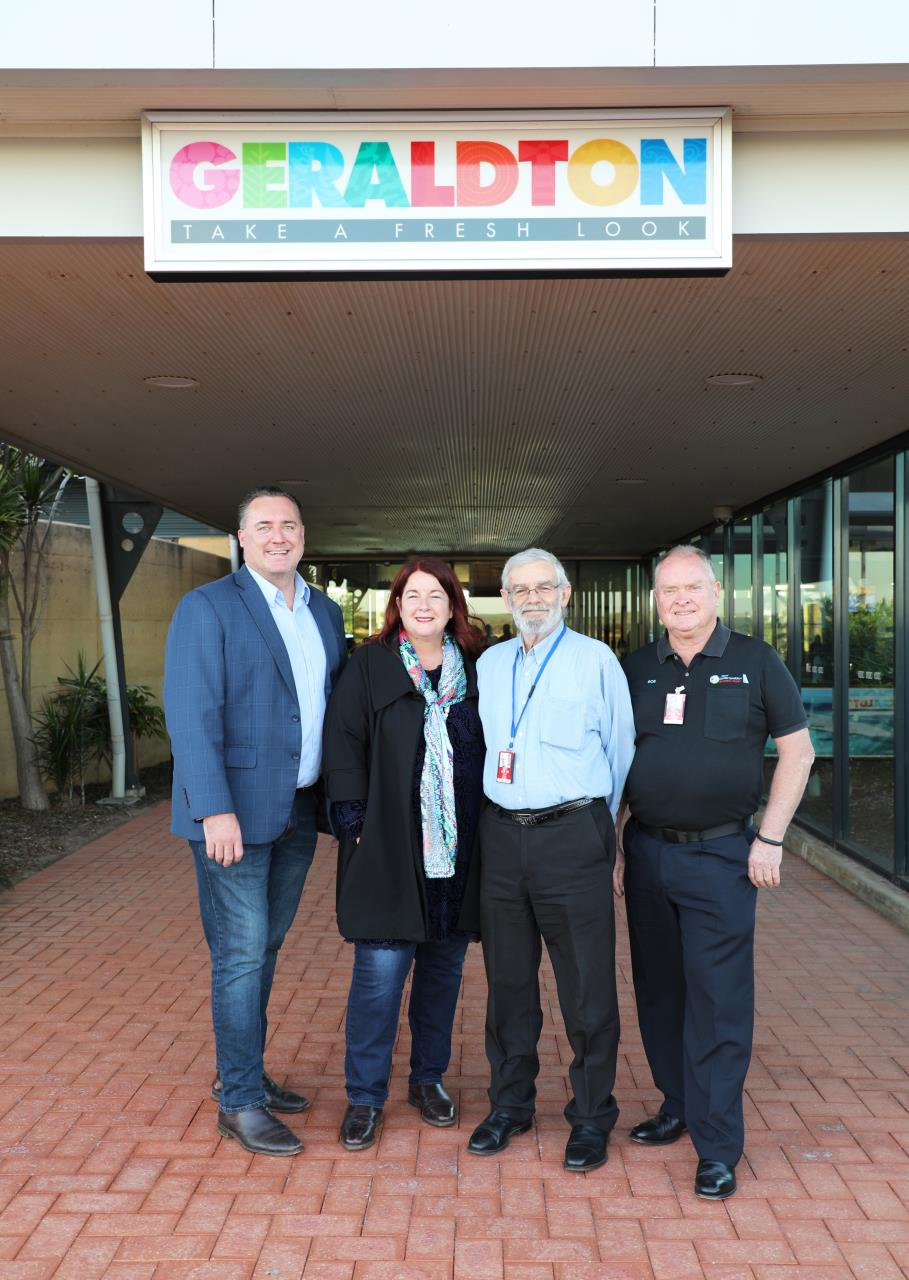 Mayor Shane Van Styn, Melissa Price MP, Director Corporate and Commercial Services Bob Davis and Geraldton Airport Manager Bob Urquhart at the Geraldton Airport.