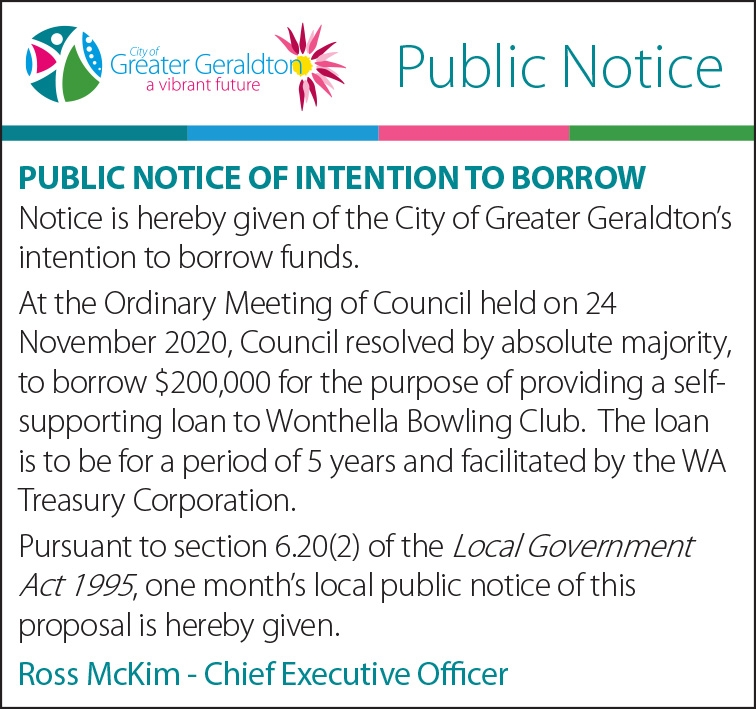 6x2 PUBLIC NOTICE of INTENTION TO BORROW